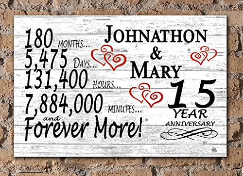 Broad Bay Personalized 15 Year Anniversary Sign Gift Fifteenth Wedding Anniversary 15th...