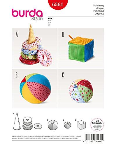 Burda 6561 Schnittmuster Spielzeug mit Kegel, Ringen, Ball und Würfel Level 2 leicht