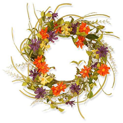 National Tree 22 Inch Floral Wreath with Multicolor Daisy Flowers (GAF30-22WM)