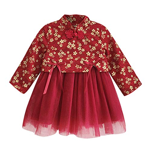 Janly Clearance Sale Conjunto de trajes y conjuntos para niñas de 0 a 7 años, para bebés y niñas de Año Nuevo Lunar Chino Tang Traje de Princesa, para 6 a 7 años Invierno Navidad (Rojo)