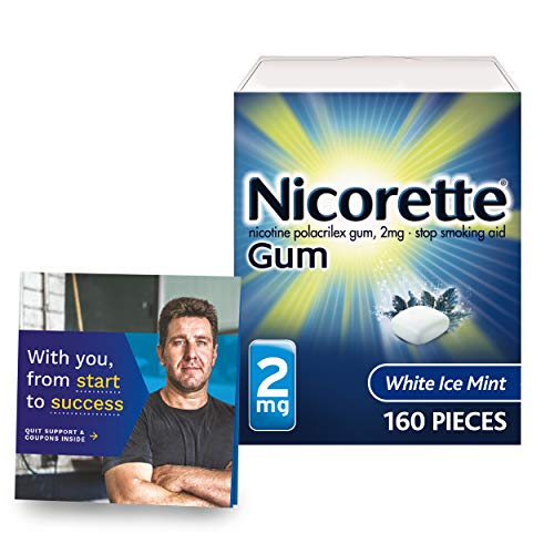 Nicorette Nicotine Gum to Stop Smoking, with Quit Support System, White Ice Mint, 2mg, 12 Weeks Quit Smoking Aid, 160 Count, Amazon Exclusive