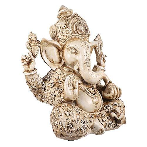 kerryshop Estatua Elephant God Figurine Suerte y Riqueza Resina de Escritorio Estatua de la Estatua de la Estatua Hindu Sculpture para Office Home Estatua de Buda