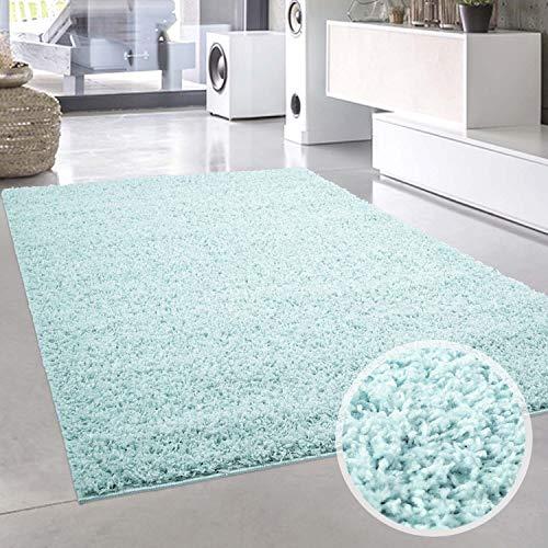 carpet city Shaggy Teppich Hochflor Langflor Pastell Einfarbig Modern Türkis Wohnzimmer; Größe: 200x200 cm Quadratisch