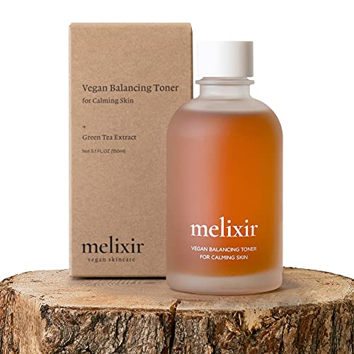 MELIXIR Vegan Balancing Toner for Calming Skin with Organic Green Tea Extract | Alcohol Free Facial Toner for Dry Sensitive Skin for Men and Women | Natural Anti Aging Korean Toner | Cruelty-Free