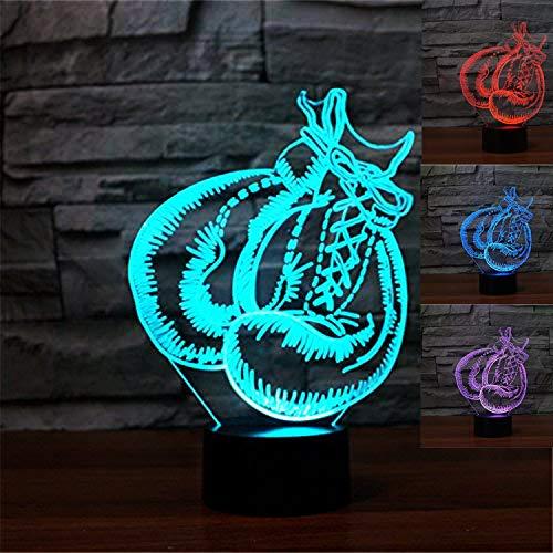 3D LED lámparas de Guantes de boxeo de ilusion optica luz de noche 7 colores Contacto Arte Escultura luces con cables USB Lampara Decoracion Dormitorio escritorio mesa para niños adultos