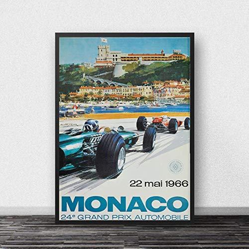 YF'PrintArt Mónaco 64Th Super Motor Car Poster Champion Retro Wall Art Canvas Painting Baby Kids Room Cuadro En Lienzo Sin Marco 50X70Cm -A1047