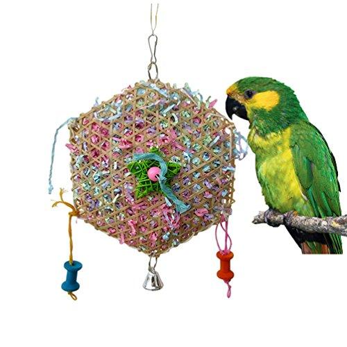 Keersi Kau-Spielzeug mit Papierstreifen für Papagei, Wellensittich, Sittich, Nymphensittich, Fink, Kanarienvogel, Kakadu, Ara