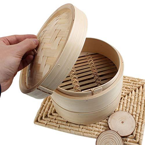 Pâte à riz en bambou à 2 niveaux, 8 pouces (Color : Natural)