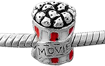 Buckets of Beads Movie Popcorn Charm Bead Fits Most Major Charm Bracelets For Women and Girls
