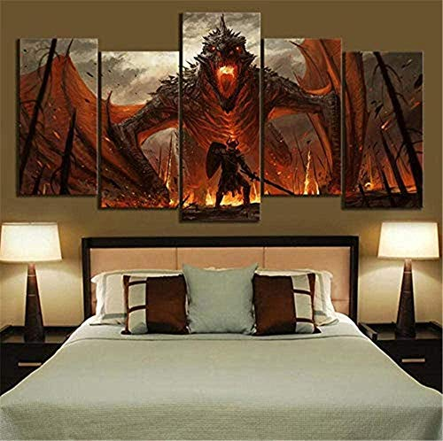 Prints on Canvas 5 Piece Game Thrones Fire Dragon Oil Painting Canvas Fantasy Wall Art Home Decor No Frame (Size B)