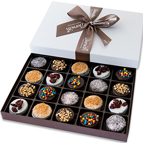 Barnetts Holiday Gift Basket - Elegant Chocolate Covered Sandwich Cookies Gift Box - Unique Gourmet Food Gifts Idea For Men, Women, Birthday, Corporate, Mothers Day or Valentines Baskets for Her