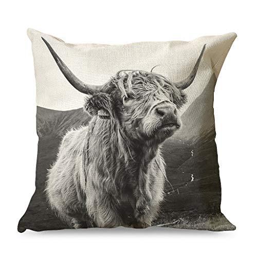 HoodBA Kissenbezüge, grauer Highland-Yak-Rinder-Kuh-Druck, Kissenbezug weich für Party, weiß, 45 x 45 cm