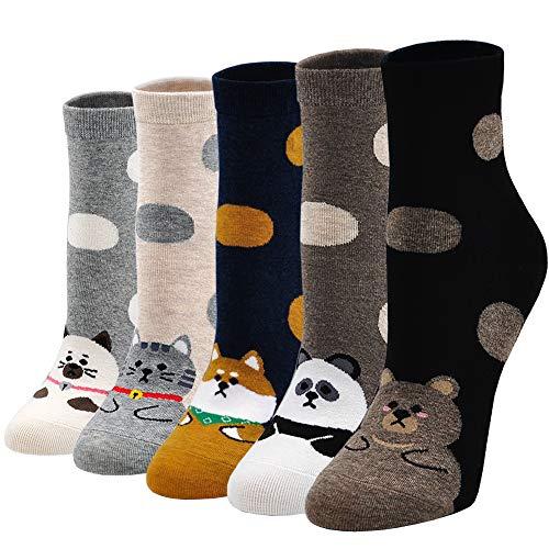PUTUO Damen Socken aus Baumwolle Lustige Bunte Socken, Frauen Damen Thermal Socken Witzige Socken Karikatur Tier Socken Weihnachtssocken, 5 Paare, Tiermuster, EU 37 - 43