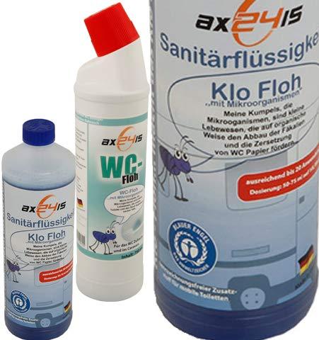 Klo Floh + WC Floh als Set - Sanitärflüssigkeit + Reiniger für Camping WC mit Mikroorganismen riecht gut