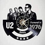 Reloj de Pared de la Banda de Rock U2 con Disco de Vinilo decoración Retro del hogar de 12 Pulgadas con Luces