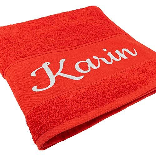 Handtuch mit Namen oder Wunschtext Bestickt, personalisiertes Duschtuch, individuelles Badetuch, 100% Baumwolle, 140 x 70 cm, rot