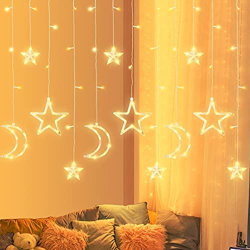 Curtain LED Luci, Shanmei Stelle e Luna Luci a Fata, USB Luci Stringhe Decorative Impermeabili Curtain Luci con 8 Modalità Tenda Luminosa, per Finestra Vetrina, Festa, Compleanno