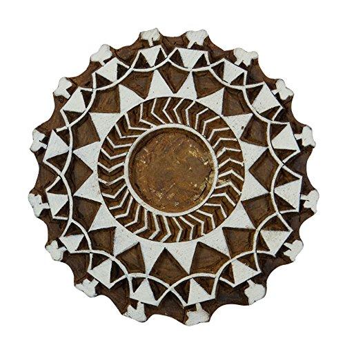 Braun Textil Hand Geschnitzt Stempel Blumenblockdruck Holz Indischen Holzblock Kunst