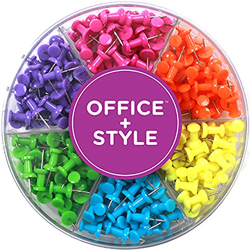 Decorative Multi-Colored Push Pins for Home & Office, Six Colors for Different Projects in Reusable Organizing Container, 240 Pieces, by Office Style, Standard (A1-240PCSCLRPP)