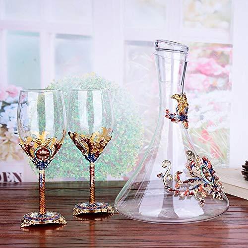 CGDZ Esmalte Rojo Copa de Vino Copa decantador Conjunto Copas Copas de Cristal Cristal champán Copas Regalo de Boda con Caja de Regalo 350 ml 1 Juego