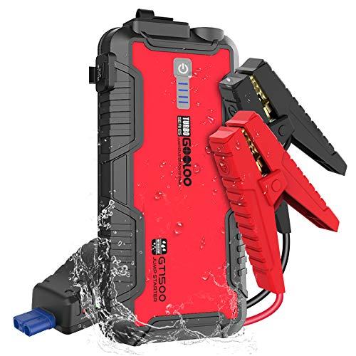 GOOLOO GT1500 Arrancador de Coche Resistente al Agua 1500A12V Amplificador Automático de Batería para hasta 8L de Gasolina y 6L de Motor Diésel con Carga Rápida USB, Paquete de Energía Portáti