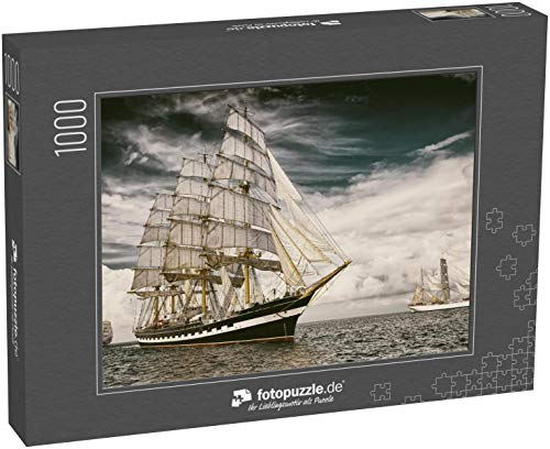 fotopuzzle.de Puzzle 1000 Teile Segelschiffe. Getontes Bild und Unschärfe. Postkarte im Retrostil. Segeln. Yachting. Reisen (1000, 200 oder 2000 Teile)