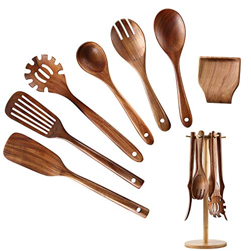 Wooden Kitchen Utensil Set NAYAHOSE Bamboo Utensil Holder with 6 Hooks Kitchen Countertop Hanging Organizer for Spoon Spatula ForkTeak Wooden Spoons for Cooking 8pcs 8