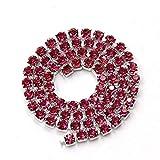 AUBERSIT 5 Yardas/Paquete con Base de Astilla, Cadena de Copa de Diamantes de imitación de Cristal Rojo Rosa, Ropa de Bricolaje, Accesorios para Vestidos de Novia, Rosa roja, ss12 3.0 mm