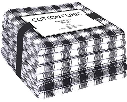 Katoenen-Kliniek 6 Stuks theedoeken 45 x 70 cm 100% katoen, bar handdoeken, vaatdoeken, Duurzaam Absorberende keukendoeken met ophanglus, Machinewasbaar - zwart