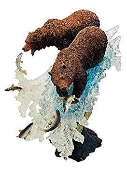 18 Inch Premium Grizzly Bears Fishing Statue - Perfect for Kitchen Home and Rustic Cabin Decor - Premium Statue Sculpture Figurine Made to Complement Your Current Home Decor