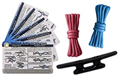 "NAUTICAL KNOT PRACTICE KIT - Kit contains everything you need to practice and master 20 common boating and sailing knots. HORN CLEAT, CORD, & KNOT CARDS - Includes two 3-foot lengths of 550 cordage, a 4"" high-impact nylon horn cleat, and a set of Nau..."