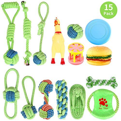 Hundespielzeug Seil 15pcs Kauspielzeug Interaktives Spielzeug Set Intelligenz Hundeseile Spielset Seil mit geflochtem Ball aus Baumwolle Zahnreinigung des Hundes,für Welpe Kleine/Mittlere Hunde