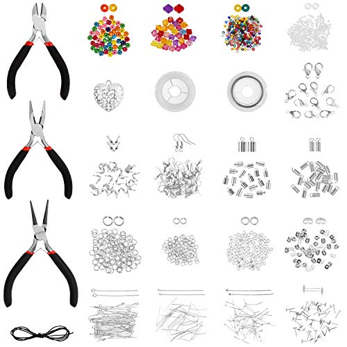 Kurtzy 1000+ Piece Jewellery Making Kit - Set of Jewelry Repair Tools with Pliers, Findings, Beads, Beading Wire, Jump Rings, Lobster Clasps - Supplies to Create Necklaces, Earrings, Bracelets
