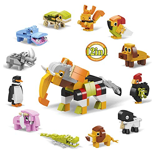 iRunning 12 Boxes Mini Animals Building Blocks, Party Favors for Kids, Building Brick Stem Toys for Goodie Bags, Stocking Stuffers, Birthday