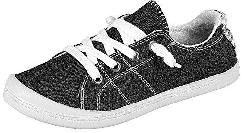 Forever Link Women's Classic Slip-On Comfort -01 Black Fashion Sneaker (7.5)
