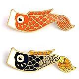 RQZQ Broche 2pc / Set Koi Pin Pinzas de Pescado japonesas Insignias Broche...