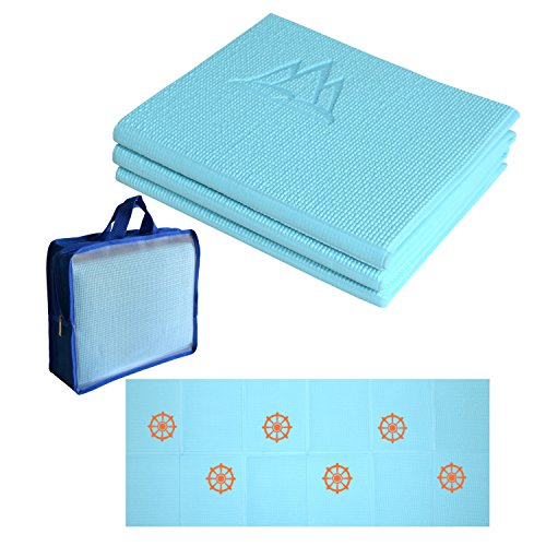 Khataland YoFoMat Kids, Ultra Thick Best Foldable Yoga Mat, Eco Friendly with Travel Bag, 60-Inch, Sky Blue