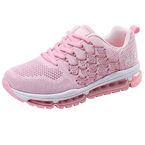 Entrenador de Ocio al Aire Libre para Hombre Mujer Transpirable Zapatillas Simple RosadoBlanco Zapatos Deportivos 41 EU