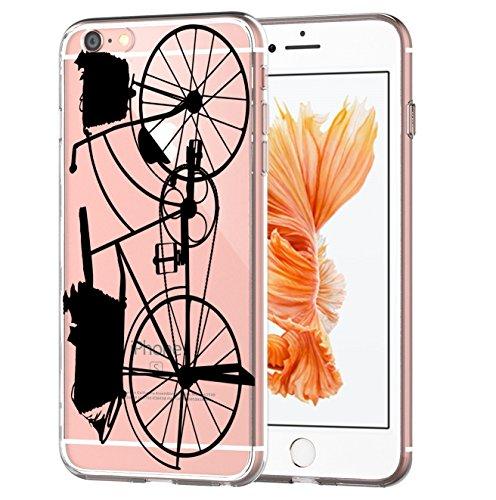 blitzversand Caso Telefono SCHATTEN Silhouette Compatibile per Huawei P9 Lite Vecchia Ombra della Bicicletta Retro Style Custodia Protettiva Custodia Paraurti Trasparente M4