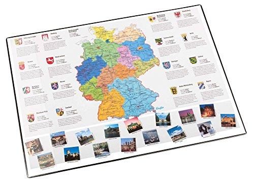 Läufer 45348 Landkarten-Schreibtischunterlage Deutschland, rutschfeste Schreibunterlage mit Deutschlandkarte, 40x53 cm, mit transparenter Seitentasche