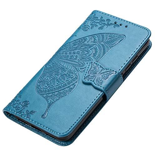 HAOYE Hülle für Xiaomi Redmi Note 8T Hülle, Schmetterling Geprägtem PU Leder Magnetische Filp Handyhülle mit Kartensteckplätzen/Standfunktion, Anti-Rutsch Schutzhülle. Blau