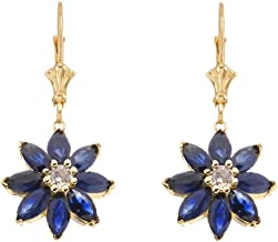 Exotic 14k Gold Daisy Diamond and Sapphire Flower Leverback Earrings