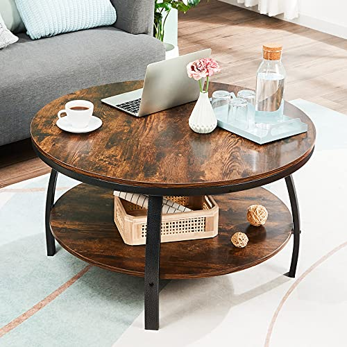 GreenForest 35.4' Round Coffee Table 2-Tier Large Size Industrial Design Sofa Table for Living Room with Storage Shelf Metal Legs Center Table, Rustic Brown
