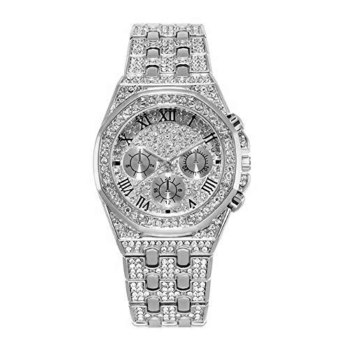 Panicy Reloj de Pulsera para Hombre de Oro Helado para Hombre Hip Hop Bling Bling Diamond