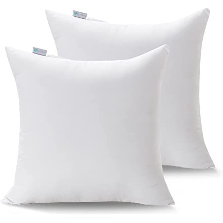 """Acanva Decorative Throw Pillow Inserts for Sofa, Bed, Couch and Chair, Square Euro Sham Form Stuffer with Premium Polyester Microfiber, White, 2 Count, 28"""" L x 28"""" W, 2 Pack"""