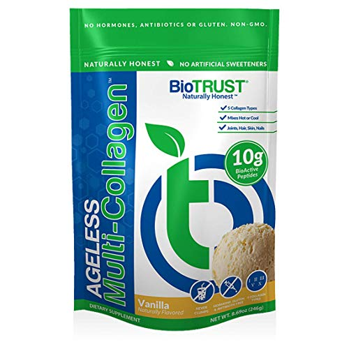 BioTrust Ageless Multi Collagen Protein a 5-in-1 Collagen Powder, 5 Collagen Types, Hydrolyzed Collagen Peptides, Grass-Fed Beef, Sustainable Fish, Chicken and Eggshell Membrane (Vanilla)