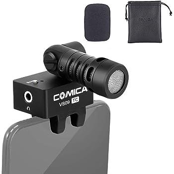 Smartphone Microphone,Comica CVM-VS09TC Cardioid Directional Condenser Shotgun Video Microphone for Huawei P20 P30 Samsung A10 A20 Moto G7 (USB Type C Jack)