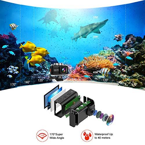 【2019 New】Apexcam Action cam 4K 20MP Sportkamera EIS WiFi Wasserdichte Unterwasserkamera 40M Externes Mikrofon 2.0'LCD 170 ° Weitwinkel 2,4G Fernbedienung 2x1200mAh-Batterien und mehrere Zubehörteile - 3