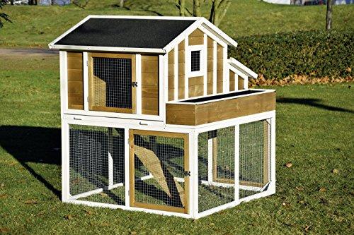 dobar 23033FSC Großer dekorativer Hühnerstall oder Kleintierstall XL mit Freigehege, Pflanzkasten und Legebox, 126 x 128 x 143 cm, weiß-braun-schwarz - 5