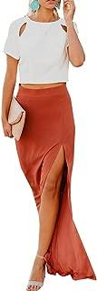 Hestenve Womens High Waisted Side Split Flowy Chiffon Long Maxi Skirt